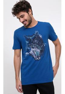 Camiseta Estampa Lobo Azul