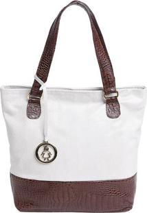 Bolsa Em Couro Com Bag Charm- Off White & Marrom- 31Di Marlys
