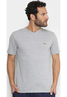 Camiseta Lacoste Gola V Masculina - Masculino-Cinza