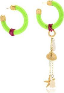 Argola Le Diamond Fios De Seda Florescente Com Pingentes - Feminino-Verde