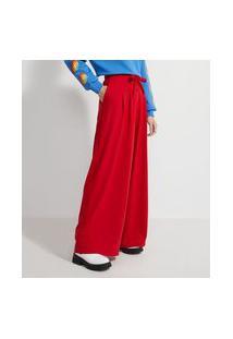 Calça Pantalona Em Moletinho Com Cós Elástico E Amarração