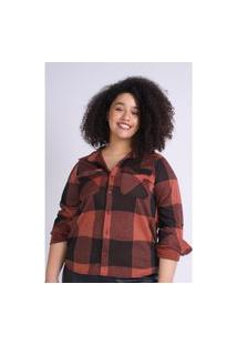Camisa Xadrez Feminina Plus Size Marrom Camisa Xadrez Feminina Plus Size Marrom M Kaue Plus Size