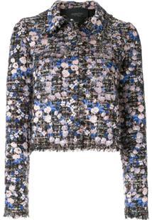Giambattista Valli Bouclé-Tweed Floral Jacket - Azul