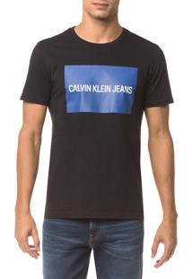 Camiseta Ckj Mc Est Logo Retangulo - Preto - Pp