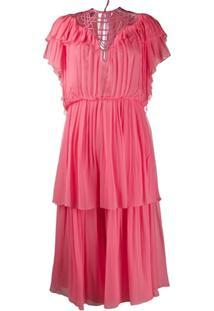 Alberta Ferretti Vestido Com Babados E Amarração - Rosa