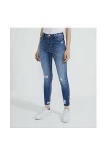 Calça Skinny Jeans Com Puídos E Pingente De Cereja   Blue Steel   Azul   42