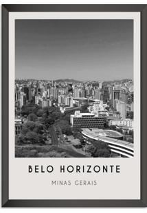 Quadro 65X45Cm Cidades Belo Horizonte Brasil Moldura Preta Com Vidro - Oppen House Decora