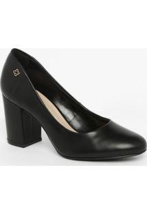 Sapato Tradicional Em Couro Com Tag - Preto- Salto: Capodarte