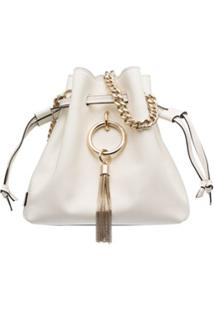 Jimmy Choo White Callie Leather Drawstring Shoulder Bag - Branco