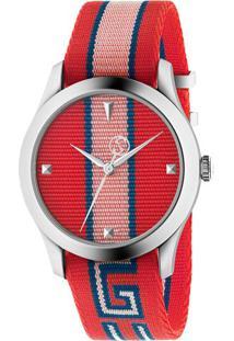 Vivara. Relógio Gucci Feminino Vermelho De Grife Nylon ... 17a009bfcf