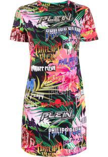 Philipp Plein Vestido Mangas Curtas Com Logo - Vermelho