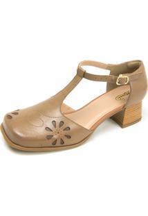 Sapato Retrô Bico Quadrado Touro Boots Feminino Bege - Kanui