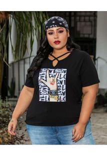 Blusa Strappy Plus Size Estampada Preto