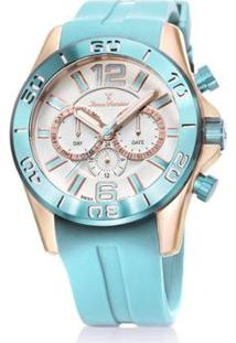 Relógio Jean Vernier Vidro Cristal Mineral 10 Atm Autêntico Feminino - Feminino-Azul