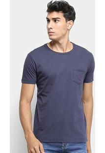 Camiseta Calvin Klein C/Bolso Masculina - Masculino-Marinho