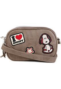 Bolsa Snoopy Transversal Mini Bag Feminina - Feminino-Cinza
