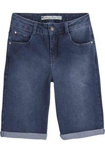 Bermuda Jeans Feminina Em Algodão Com Lavação E Barra Dobrada