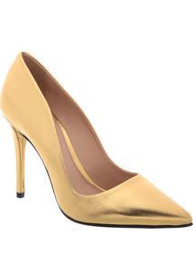 Scarpin Em Couro Metalizado- Dourado- Salto: 10,5Cmarezzo & Co.