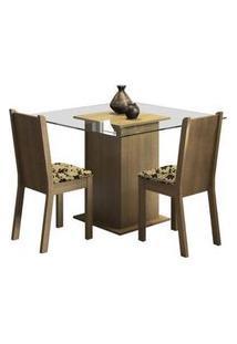 Conjunto Sala De Jantar Madesa Clei Mesa Tampo De Vidro Com 2 Cadeiras Rustic/Bege Marrom Rustic/Bege Marrom