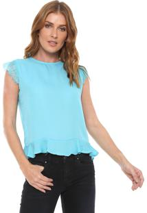 Blusa For Why Peplum Renda Azul