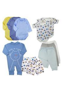 Kit 11 Peças Roupa Bebê Confortável Bonita Estilosa Enxoval Azul