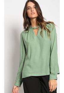 Blusa Texturizada Com Recorte Vazado- Verde- Vip Resvip Reserva