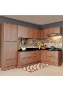 Cozinha Compacta 16 Portas Com Rodapé 5462R Nogueira/Malt - Multimóveis