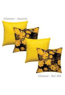 Kit Com 4 Capas De Almofadas Glamour Jacquard Amarela 64