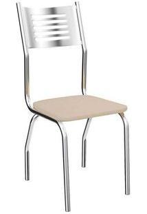Cadeira Kappesberg Munique 4C047 (4 Unidades) Cromada/Nude