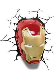 Luminária Máscara Homem De Ferro Vermelha 3D Light Fx
