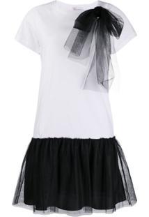 Redvalentino Vestido Reto Com Detalhe De Tule - Branco