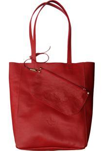 Bolsa Line Store Leather Sacola Shopper N1 Couro Vermelho - Kanui