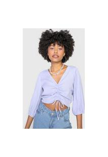 Blusa Cropped Forever 21 Mangas Bufantes Lilás