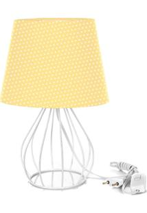 Abajur Cebola Dome Amarelo/Bolinha Com Aramado Branco