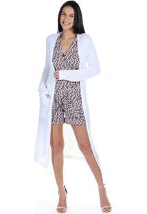 Cardigan Alongado Croch㪠Liso Com Bolsos Frontais - Off-White - Feminino - Dafiti