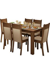 Sala De Jantar Madesa Jaine E 6 Cadeiras Marrom