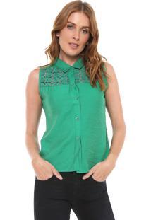 Camisa For Why Renda Verde