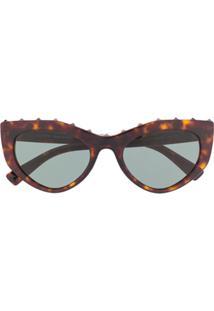 Valentino Eyewear Óculos De Sol Rockstud Redondo - Marrom