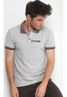 Camisa Polo Rg 518 Piquet Logo Emborrachado Jacquard Masculina - Masculino-Mescla