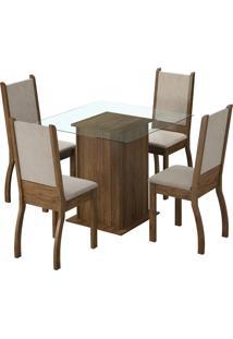 Sala De Jantar 4 Cadeiras Rustic Suéde Pérola Ariadne Madesa