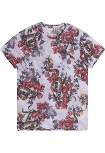 Camiseta Khelf Cobras E Flores Off White