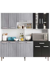Cozinha Compacta 12 Portas E 1 Gaveta C/ Tampo Clara - Poliman - Branco / Cinza / Preto