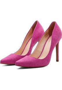 Scarpin Suede Feminino Salto Alto Bico Fino Casual Conforto Rosa