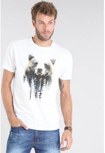 Camiseta Masculina Botonê Urso Manga Curta Gola Careca Off White