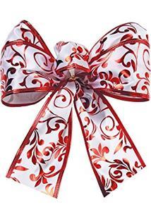 Laço De Árvore De Natal Estampa Folhas Vermelha