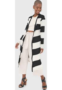 Maxi Cardigan Dress To Listrado Off-White/Preto