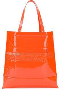 Calvin Klein 205W39Nyc Embossed Logo Tote Bag - Laranja