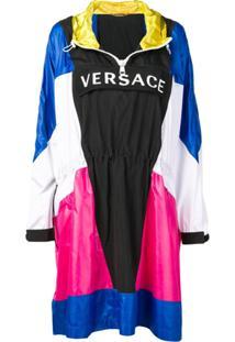 Versace Jaqueta Color Block Com Capuz - Azul
