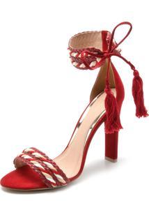 Sandália Di Cristalli Amarração Vermelha