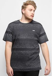 Camiseta Gajang Listrada Estonada Plus Size Masculina - Masculino-Chumbo